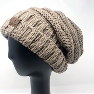 CC tan slouchy cable knit beanie